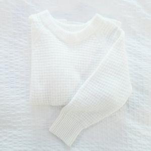 LOU & GREY Loft I White Knit Long Crew Sweater